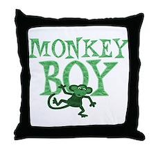 Green Monkey Boy Throw Pillow