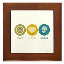 Peace Love Aliens Framed Tile
