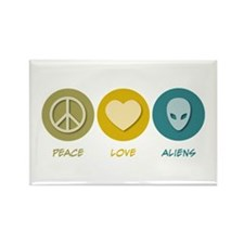 Peace Love Aliens Rectangle Magnet (10 pack)