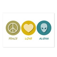 Peace Love Aliens Postcards (Package of 8)