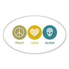 Peace Love Aliens Oval Decal