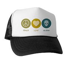 Peace Love Aliens Trucker Hat