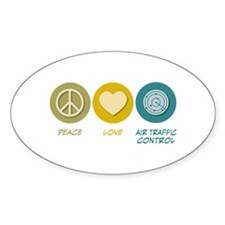 Peace Love Air Traffic Control Oval Decal