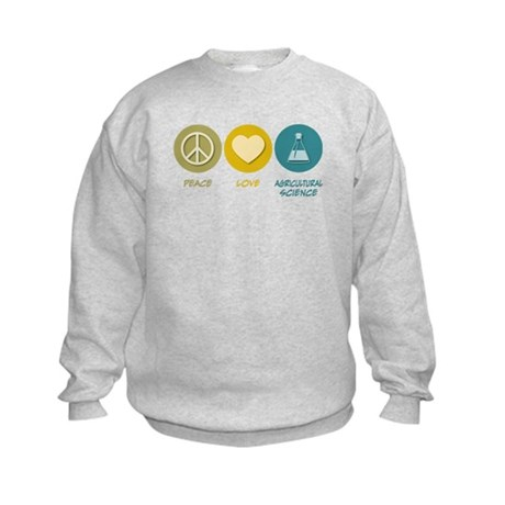 Peace Love Agricultural Science Kids Sweatshirt