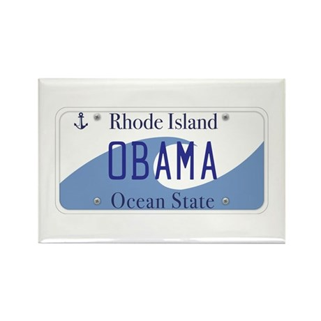 Rhode Island Supports Obama Rectangle Magnet (10 p