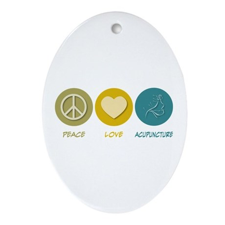 Peace Love Acupuncture Oval Ornament