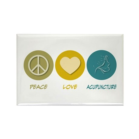Peace Love Acupuncture Rectangle Magnet (10 pack)
