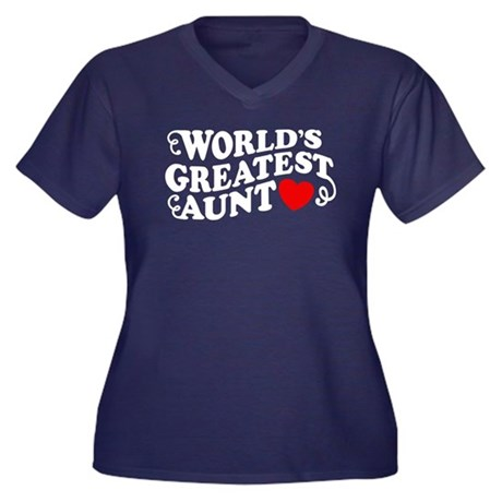World's Greatest Aunt Women's Plus Size V-Neck Dar