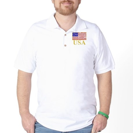 USA Flag (worn) Golf Shirt