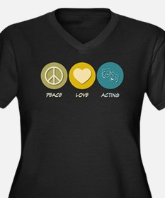 Peace Love Acting Women's Plus Size V-Neck Dark T-