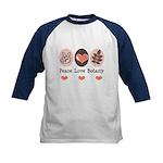 Peace Love Botany Botanist Kids Baseball Jersey