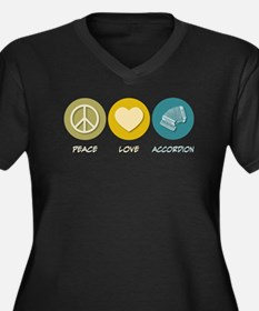 Peace Love Accordion Women's Plus Size V-Neck Dark