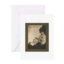 Vintage Woman with Embroidery Greeting Card