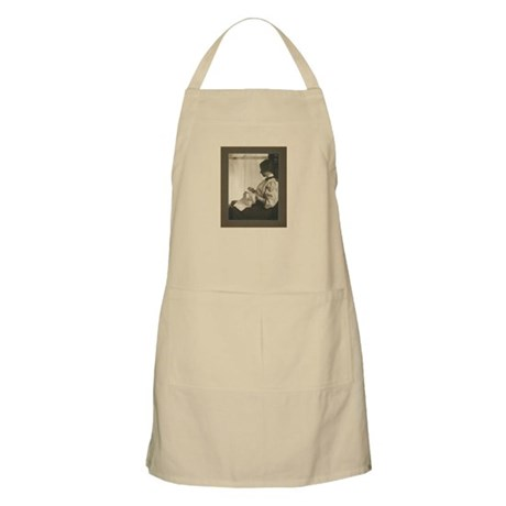 Vintage Woman with Embroidery BBQ Apron