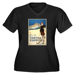 Cortina D'Ampezzo Ski Poster Women's Plus Size V-N