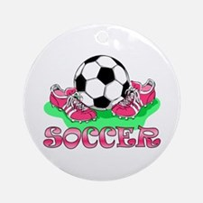 Soccer (Pink) Ornament (Round)