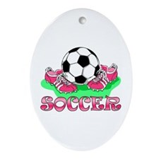 Soccer (Pink) Oval Ornament