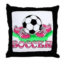 Soccer (Pink) Throw Pillow