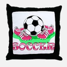 Soccer (Pink) Throw Pillow