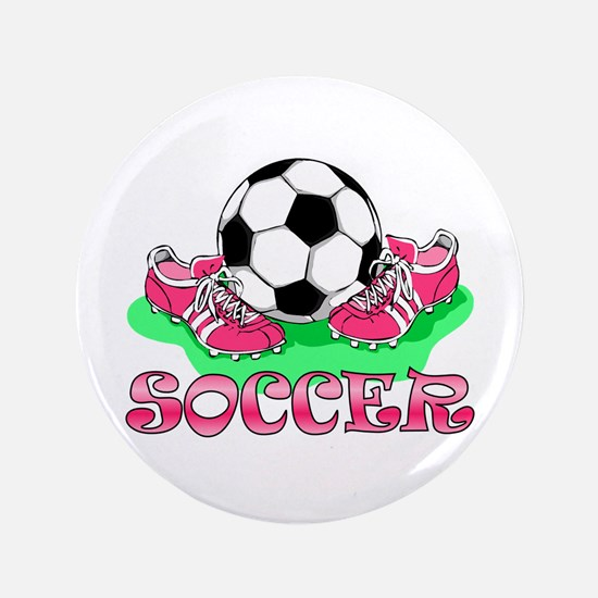 "Soccer (Pink) 3.5"" Button"