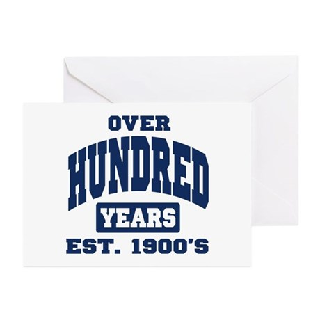 Over 100 Years 100th Birthday Greeting Cards (Pk o