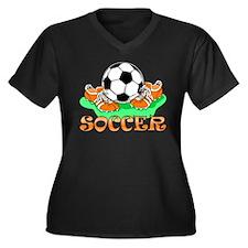Soccer (Orange) Women's Plus Size V-Neck Dark T-Sh