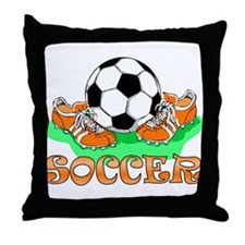 Soccer (Orange) Throw Pillow