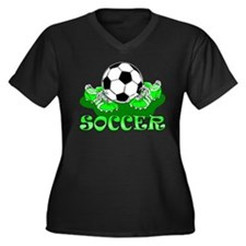 Soccer (Green) Women's Plus Size V-Neck Dark T-Shi