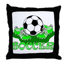 Soccer (Green) Throw Pillow