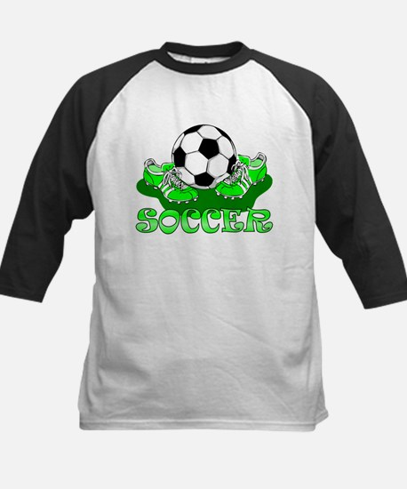 Soccer (Green) Kids Baseball Jersey