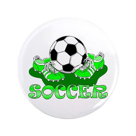 """Soccer (Green) 3.5"""" Button"""