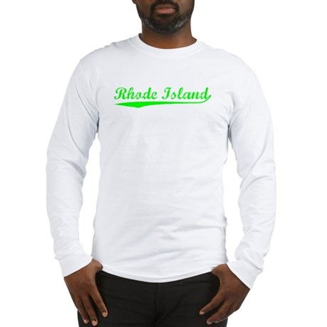 Vintage Rhode Island (Green) Long Sleeve T-Shirt