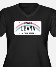 Hawaii Supports Obama Women's Plus Size V-Neck Dar