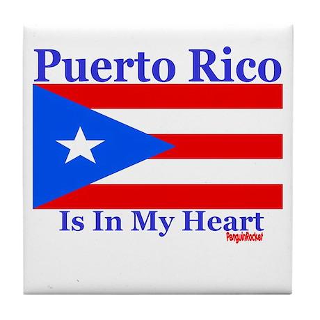 Puerto Rico - Heart Tile Coaster