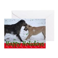 10 Irish Wolfhound Happy Holidays Gr Cards (S&