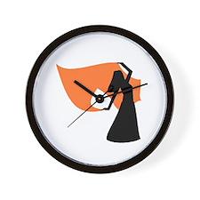 Orange Veil Dancer Wall Clock