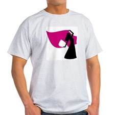 Rose Pink Veil Dancer Ash Grey T-Shirt