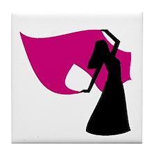 Rose Pink Veil Dancer Tile Coaster