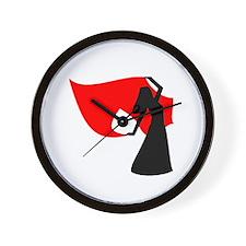 Red Veil Dancer Wall Clock