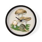Snail in Mushroom Garden Wall Clock