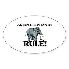 Asian Elephants Rule! Oval Decal