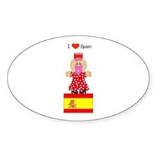 I Love Spain Oval Decal