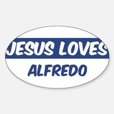 Jesus Loves Alfredo Oval Decal