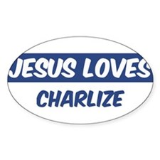 Jesus Loves Charlize Oval Decal