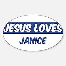 Jesus Loves Janice Oval Decal