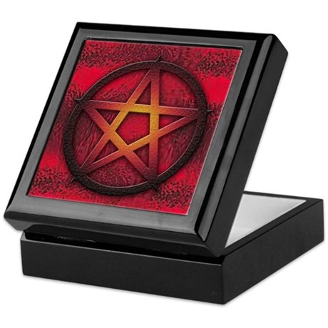 Burned Blood Red Pentagram Keepsake Box