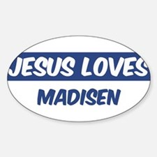 Jesus Loves Madisen Oval Decal