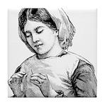 Victorian Little Girl Hand Se Tile Coaster
