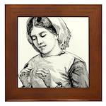 Victorian Little Girl Hand Se Framed Tile