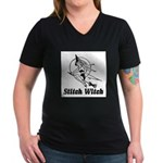Stitch Witch Women's V-Neck Dark T-Shirt